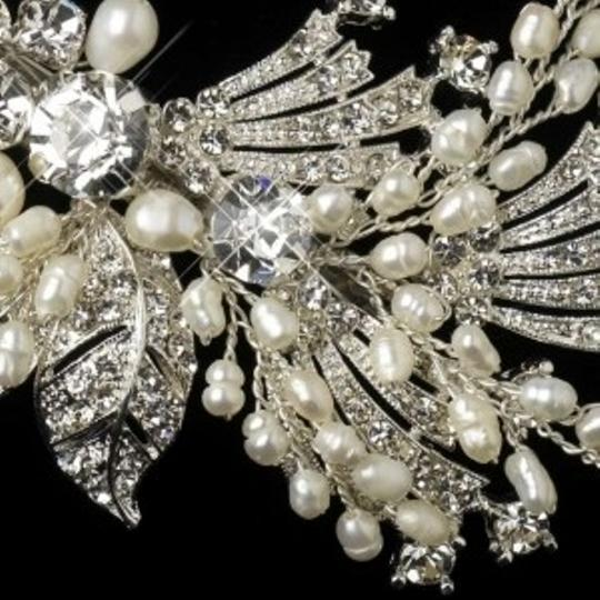 Elegance by Carbonneau Silver Vintage Look Pearl and Crystal Clip Hair Accessory