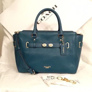 Coach New/nwt Key Chain Leather Handbag Cross Satchel in Atlantic Blue Green