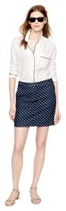 J.Crew Polka Dot Denim Mini Mini Skirt Blue White