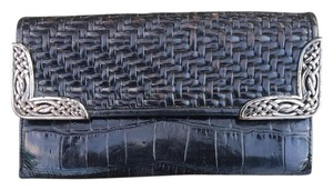 Brighton Croc Embossed and Woven Leather Wallet