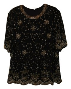 Laurence Kazar Top BLACK JACKET WITH WHITE PEARLS ,GOLD,