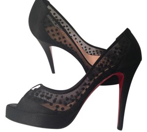 Christian Louboutin Stiletto Floral Lace Designer Black Pumps