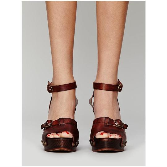 Free People Reese Platforms Boho Peasant Brown Mules
