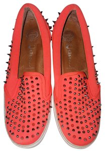 Jeffrey Campbell Rocker Spike Studded Trendy Punk Neon Orange Flats