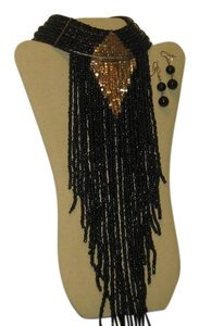 Other FRINGE LONG PEARL BLACK/GOLD NECKLACE/EARRING SET NEW