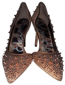 Sam Edelman Cut-out Spiked Rare Rose Gold Pewter Pumps