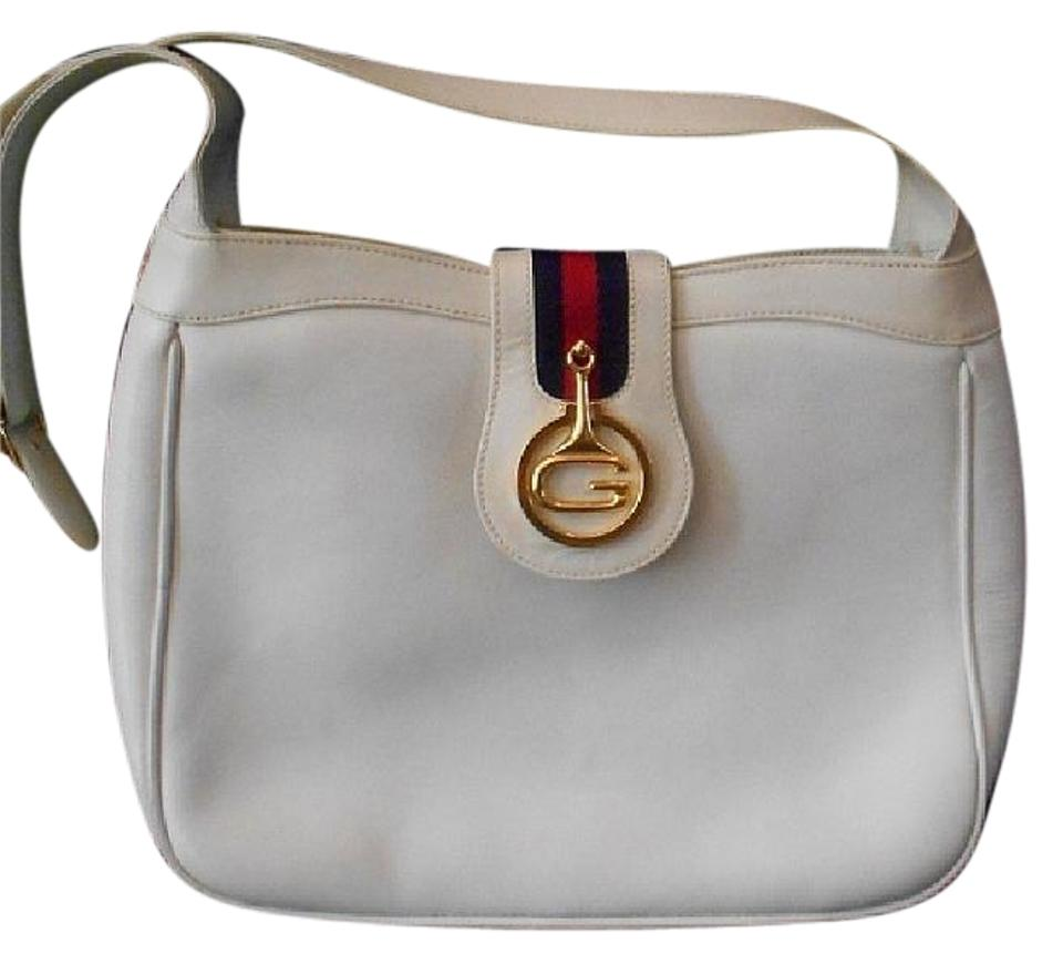 skilful manufacture novel design new appearance Gucci Vintage Purses/Designer Purses White Leather with Red and Blue  Striped Accent and Large Gold 'g' Shoulder Bag