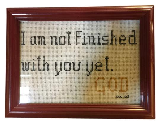 "Other ""I'm Not Finished Wall Plaque / Table Stand; -- God"" Framed Cross-Stich Embroidery [ MissSundayBest Closet ]"