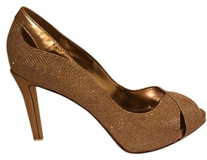 Alfani Sexy Glitter Peep-toe Party Pump Gold Formal