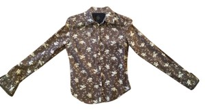 Earl Jean Cute Shirt Cotton Shirt Print Pattern Top Brown with white roses