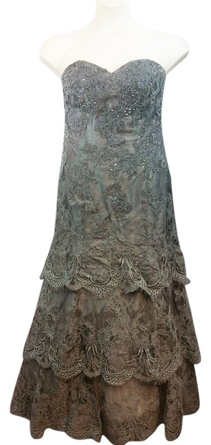 Item - Boutique By Strapless Gray Tiered Lace Evening Gown Long Cocktail Dress Size 10 (M)
