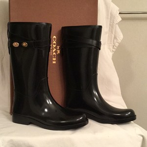 Coach New/nwt Rubber Rain Black Rose Gold Boots