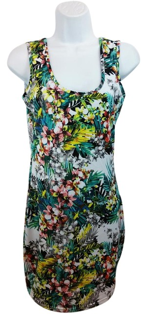 Item - Flioral Print Stretchy Bodycon Above Knee Short Casual Dress Size 4 (S)