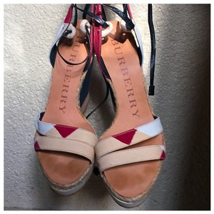 Burberry Cream, Red, White And Black Wedges