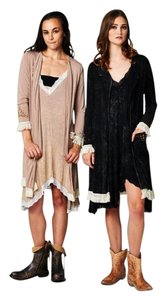Other Bohemian Fringe Embroidered Mineral Wash Relaxed Fit Cardigan