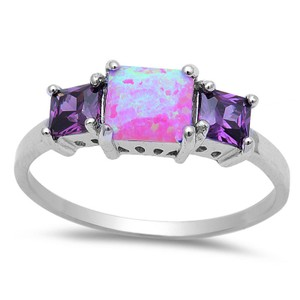 9.2.5 Unique pink fire opal and amethyst cocktail ring size 8