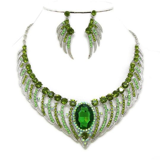 Other Spring Green Angel Wing Crystal Necklace and Earring Set