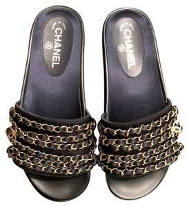 Chanel Slides Mules Marine (dark navy) Sandals
