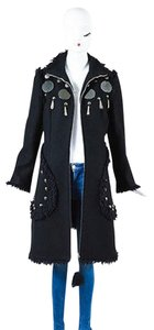 Moschino Jeans Wool Mirror Tassel Stud Fringe Trim Zip Trench Trench Coat