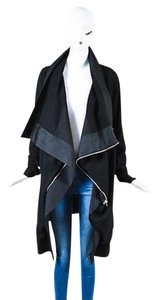 Rick Owens Wool Leather Trim Shw Asymmetrical Black Jacket