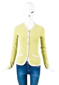 Chanel Vintage 03p Gray Green Cashmere Buttoned Cardigan Sweater