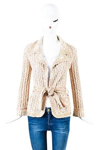 Chanel 06p Metallic Gold White Knit Belted Sequined Cardigan Sweater