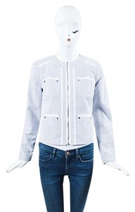 Magaschoni White Cotton Blue Jacket