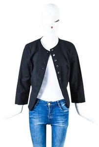 Derek Lam Derek Lam Black Linen Pleated Back Long Sleeve Button Up Blazer