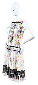 Oscar de la Renta Multicolor Silk Floral Print Marigoold Dress