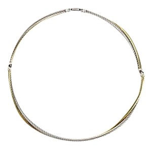 David Yurman David Yurman Crossover 18k Yellow Gold Sterling Silver Choker Cable Necklace