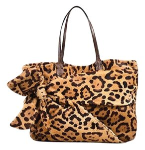 Valentino Tan Pony Hair Bow Tote in Brown
