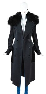 Tom Ford Wool Fox Fur Velvet Pocket Double Breasted Trench Coat