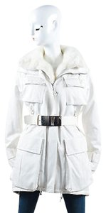KAUFMANFRANCO White Mink Belted Tech Parka Coat