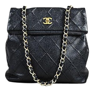 Chanel Caviar Raised Quilted Flap Chain Shoulder Bag