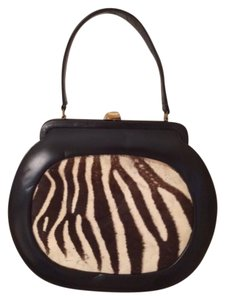 Other Vintage Zebra Fur Tote in Black and white