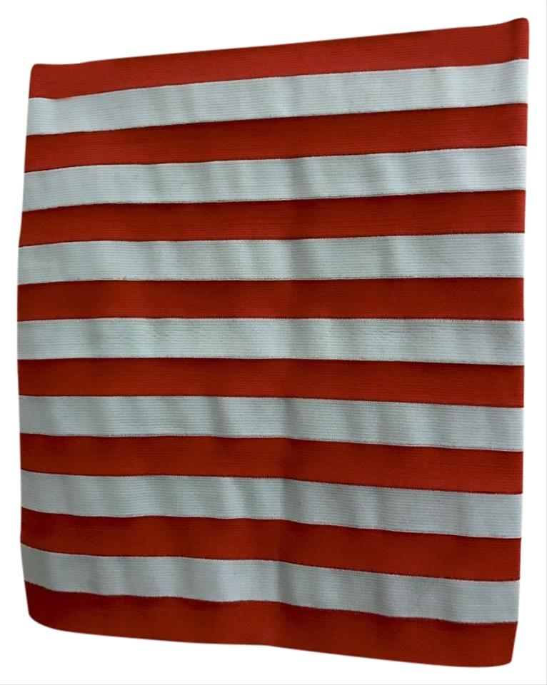 3fb7c1a3dc Pleasure Doing Business Red & Gray Striped Stretch Bodycon Skirt. Size: 0 ( XS ...