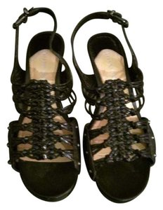 Gianni Bini Leather Studded Black Wedges