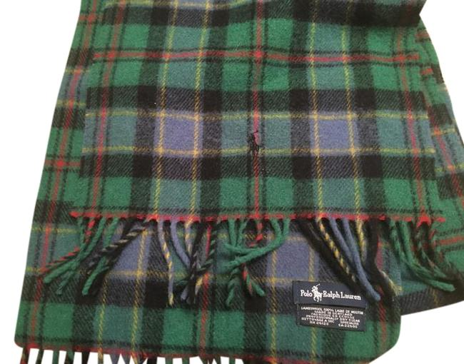 Item - Blue and Green Plaid Polo Wool Scarf/Wrap