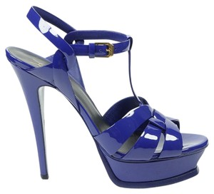 Saint Laurent Tribute Patent Leather 38.5 Blue Sandals