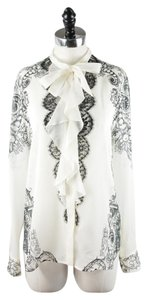 Roberto Cavalli Silk Lace Bow Top Ivory and Black
