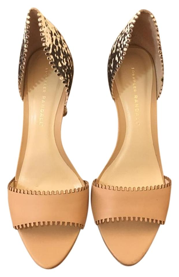 Loeffler Sandals Randall Wheat/Black/Cream Leora Embossed D'orsay Sandals Loeffler 2a66c9