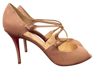 Christian Louboutin Debriditoe Patent Strappy nude Pumps