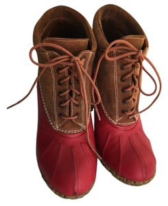 Tommy Hilfiger Red leather and brown suede Boots