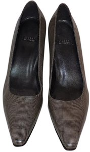 Stuart Weitzman Classic Kitten Pointed Toe Plaid Structured Black & White Pumps