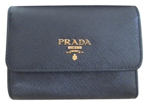 Prada Prada Solid Black Saffiano Leather Logo Trifold Wallet