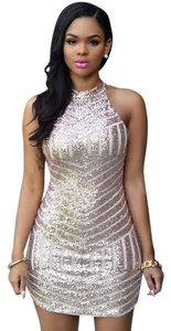 short dress Gold and black Sexy Sequin on Tradesy