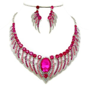 Fuchsia Pink Angel Wings Crystal Necklace and Earring Set