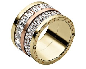 Michael Kors NWT Michael Kors Multi Stone Pave Rose Gold Barrel Ring Sz 7