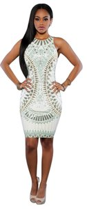 short dress white and turquoise Bodycon on Tradesy