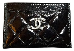 Chanel New in box Card Holder Black Patent with Sliver HW
